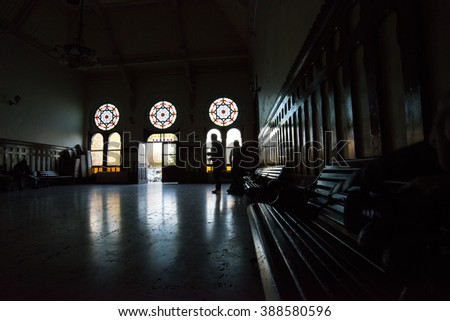 Istanbul, Turkey; Aug 24, 2015: Interior of Sirkeci Train station with reverse light