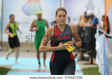 ISTANBUL, TURKEY - AUGUST 21, 2016: Athletes competing in running component of Istanbul Triathlon in Marmara Sea coast. 586 triathletes attempt to sixth Istanbul Thriathlon.