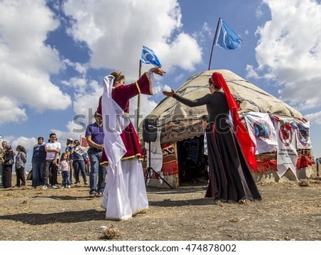 ISTANBUL, TURKEY - August 27, 2016: Etnospor Cultural Festival is about old ottoman turkish cultural activites they are dancing from Bezirganbahce Area Kucukcekmece, Istanbul, Turkey.