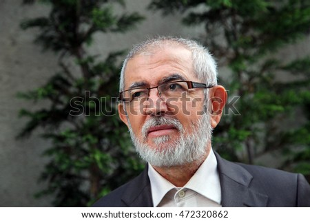 ISTANBUL, TURKEY - AUGUST 28: Famous Turkish author and theologian Ali Riza Demircan portrait on August 28, 2012 in Istanbul, Turkey.