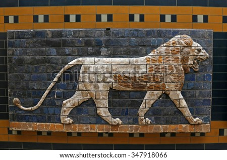 ISTANBUL, TURKEY - AUGUST 07, 2015: Istanbul Archaeological Museum : A lion from Ishtar Gate of Babylon.  The Ishtar Gate was built by King Nebuchadnezzar II in about 575 BC.  - stock photo