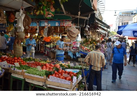 ISTANBUL, TURKEY, AUGUST 21, 2014: Ordinary streets of asian part of istanbul are during the day swiftly changed into marketplace with various items to buy.