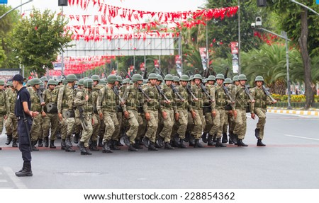 ISTANBUL, TURKEY - AUGUST 30, 2014: Soldiers march during 92th anniversary of 30 August Turkish Victory Day parade on Vatan Avenue
