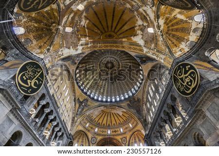 ISTANBUL, TURKEY - AUGUST 22, 2014 - The Hagia Sophia (also called Hagia Sofia or Ayasofya) interior architecture, famous Byzantine landmark and world wonder in Istanbul, Turkey - stock photo