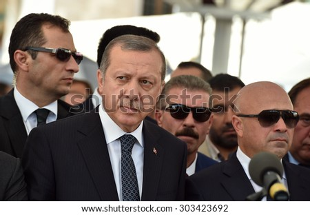 ISTANBUL, TURKEY-AUGUST 4: Turkey President Recep Tayyip Erdogan attend the funeral on August  4,2015 in Istanbul, Turkey.