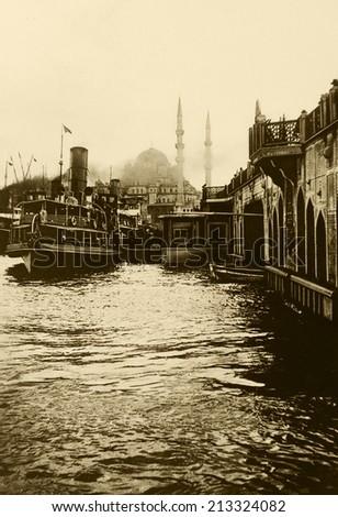 ISTANBUL-Turkey,Cir ca 1920's :Vintage cityscape of Istanbul, Eminonu district in istanbul.Turkey.Cir ca 1920's  - stock photo