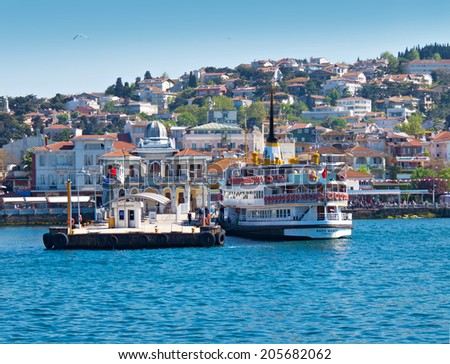 ISTANBUL, TURKEY -- CIRCA APRIL 2014: Marine station Buyukada.The ferry departs in the continental part of Istanbul. - stock photo