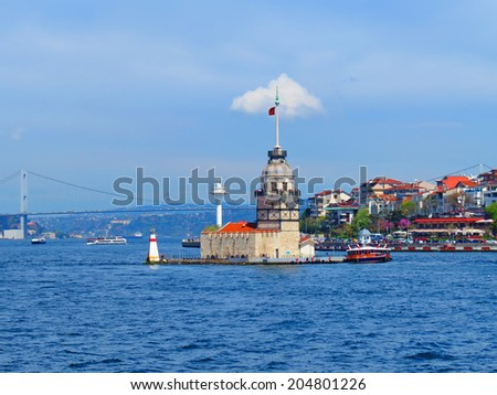 ISTANBUL, TURKEY -- CIRCA APRIL 2014: The Maiden's Tower (Tower of Leandros) on the modern building background - stock photo