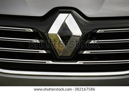 ISTANBUL, TURKEY - CIRCA FEBRUARY 2015: Renault logo close-up in Istanbul. Renault S.A. is a French car manufacturer producing cars, vans, buses, trucks, tractors, tanks, autorail vehicles - stock photo