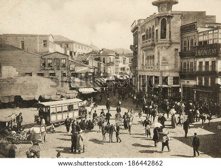 ISTANBUL, TURKEY - CIRCA 1900's :Cityscape in old Istanbul, Bosphorus Strait and Asian Side on the other shore .Turkey, circa 1900s.  - stock photo