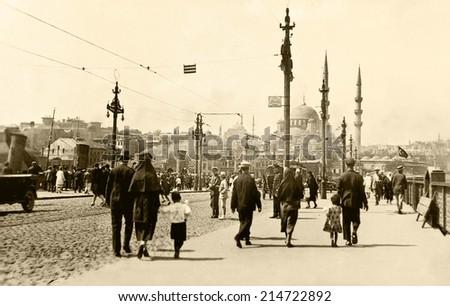 ISTANBUL, TURKEY - CIRCA 1900's :Vintage cityscape of Istanbul.Old Eminonu District.Turkey, circa 1900s.  - stock photo