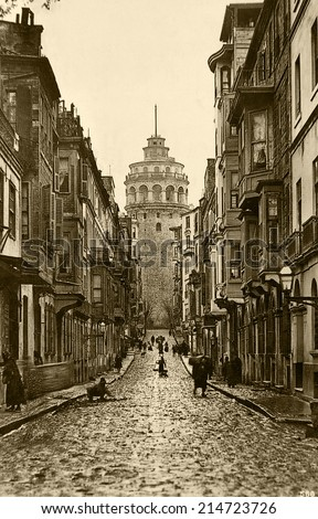 ISTANBUL, TURKEY - CIRCA 1900's :Vintage cityscape of Istanbul,old Galata Tower,Turkey, circa 1900s.