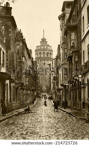 ISTANBUL, TURKEY - CIRCA 1900's :Vintage cityscape of Istanbul,old Galata Tower,Turkey, circa 1900s.  - stock photo