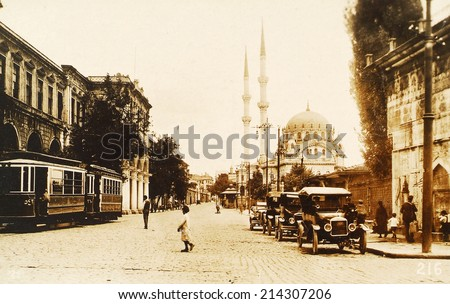 ISTANBUL, TURKEY - CIRCA 1900's :Vintage cityscape of Istanbul,old Kabatas District.Turkey, circa 1900s.  - stock photo