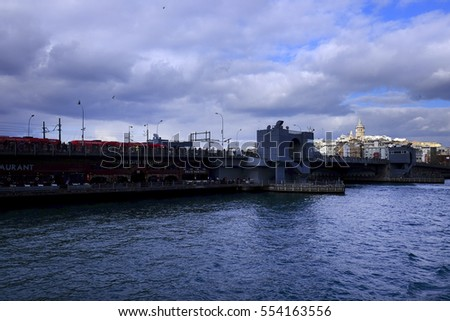 Istanbul,Turkey - 17 December 2016 : Galata Bridge