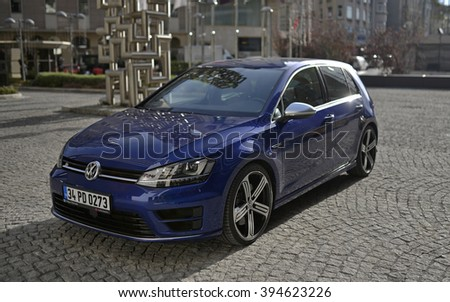 ISTANBUL, TURKEY, 05 DECEMBER 2016, 2016 model Volkswagen Golf R Variant at the test drive event. - stock photo