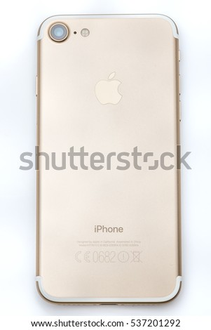 Istanbul, Turkey - December 12, 2016; New Apple iPhone 7 Gold  - Hello text on first run. New Apple iPhone acclaims to become the most popular smart phone in the world in 2016