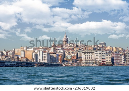 ISTANBUL, TURKEY - December 6: Panoramic Istanbul. View on Galata Tower and Istanbul landscape. December 6, 2014 in ISTANBUL, TURKEY