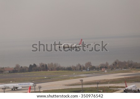 Istanbul, Turkey; December 11, 2015: Turkish Airlines Airbus A 340 about to touch down