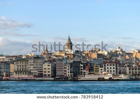 Istanbul, TURKEY  - December 23, 2017 : View of Karakoy and Galata Tower in Istanbul city. KARAKOY