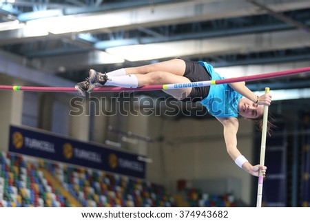ISTANBUL, TURKEY - FEBRUARY 06, 2016: Athlete Merve Baskaya pole vaulting during Turkish Athletic Federation Clubs Indoor Championship - stock photo