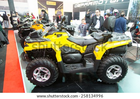 ISTANBUL, TURKEY - FEBRUARY 28, 2015: Can am Outlander in Eurasia Moto Bike Expo in Istanbul Expo Center