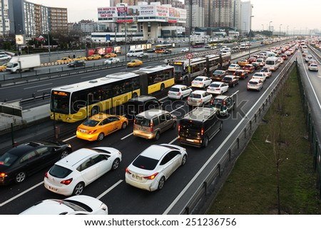 ISTANBUL, TURKEY - FEBRUARY 03, 2015:Cevizlibag district in Istanbul. Metrobus, a part of public transportation system, eases the traffic in Istanbul on FEBRUARY 03, 2015 in Istanbul, Turkey  - stock photo