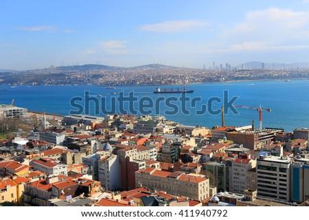 ISTANBUL, TURKEY: FEBRUARY 17, 2016: City skyline of Istanbul Turkey and the Bosphorus River  from Galata in Beyoglu - stock photo