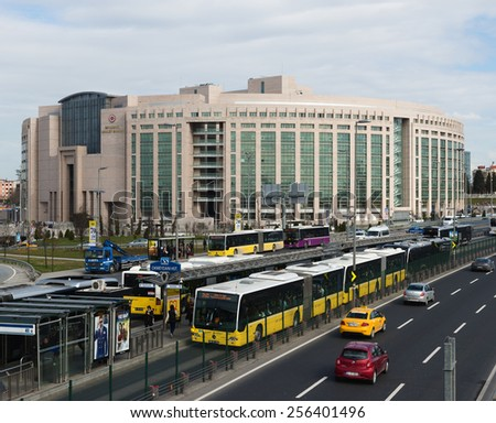 ISTANBUL, TURKEY - FEBRUARY 26: Okmeyani district in istanbu. Metrobus, a part of public transportation system, eases the traffic in Istanbul on FEBRUARY 26, 2015 in Istanbul, Turkey  - stock photo