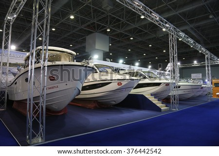 ISTANBUL, TURKEY - FEBRUARY 13, 2016: Quicksilver boats on display at 9th CNR Eurasia Boat Show in CNR Expo Center