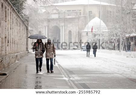 ISTANBUL, TURKEY - FEBRUARY 17: Snowy and hard day in Istanbul on February 17, 2015 in Istanbul, Turkey.