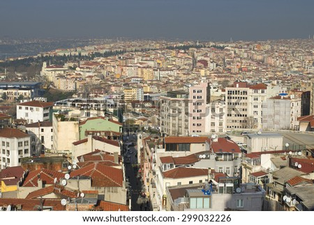 ISTANBUL, TURKEY - JANUARY 03, 2015: January morning over the roofs of the city