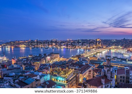 ISTANBUL, TURKEY - JANUARY 31, 2016: Panoramic view of Golden Horn from Galata Tower. Istanbul, Turkey.