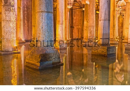 ISTANBUL, TURKEY - JANUARY 21, 2015: The   Basilica Cistern was the largest in city underground waterproof chamber to holding water for the public uses, on January 21 in Istanbul.