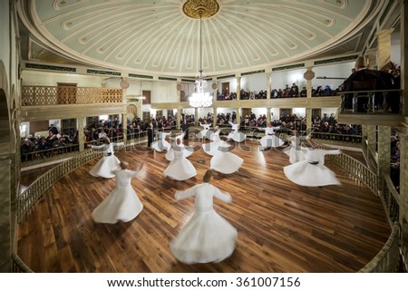 Istanbul, Turkey - January 6, 2016: Tourists visits watch Sema Ceremony in Yenikapi Mevlevihanesi, Istanbul, Turkey on January 6, 2016