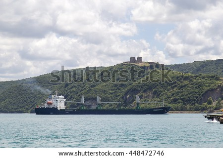 Istanbul, Turkey - July 06, 2016: Big size commercial ship view from Istanbul Bosphorus