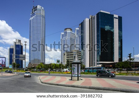 ISTANBUL, TURKEY - JULY 17: Levent district is a rapidly-developing business and finance area of Istanbul with highrises and shopping malls. Taken on July 17, 2013