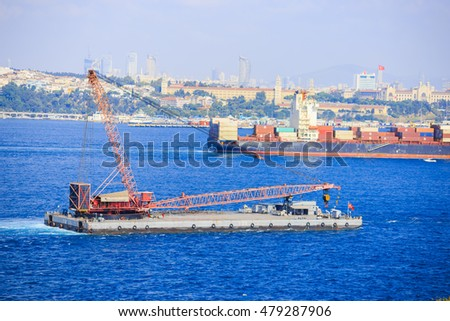 Istanbul, Turkey - July, 30 2016: Oil platfrom passing through to Istanbul Bosphorus
