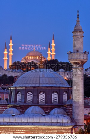 "ISTANBUL, TURKEY - 14 JULY: ""Ramadan is a blessing"" lettering hanging on Suleymaniye Mosque mahya in Istanbul Turkey on 14 july 2013. Ridge is an Ottoman tradition has been applied since 1616. - stock photo"