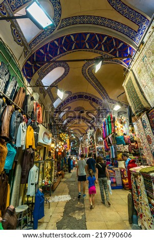 ISTANBUL, TURKEY - JULY 31: Tourists and locals mix at the Grand Bazaar on July 31, 2014 in Istanbul, Turkey.