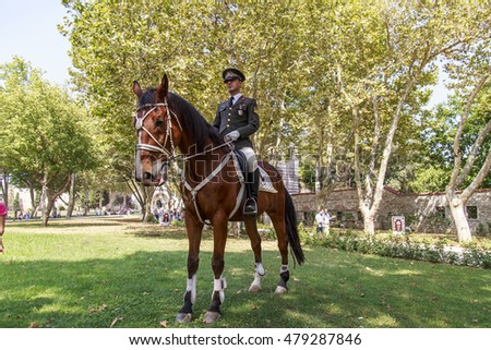 Istanbul, Turkey - July 30, 2016: Traditional Horsemen guardins from Istanbul