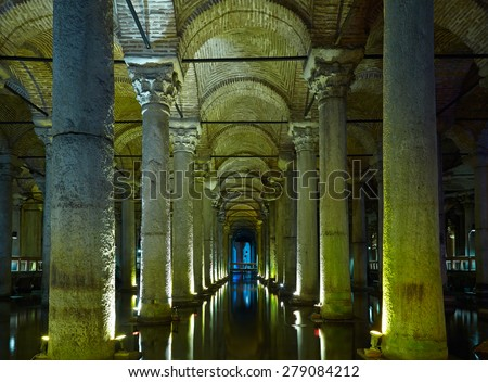 ISTANBUL, TURKEY - JULY 16, 2014: Yerebatan Saray - Basilica Cistern in Istanbul, Turkey. Yerebatan Saray is one of favorite tourist attraction in Istanbul.