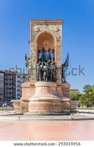 ISTANBUL, TURKEY - JUN 22, 2014: South side of the  Monument of the Republic in Taksim Square