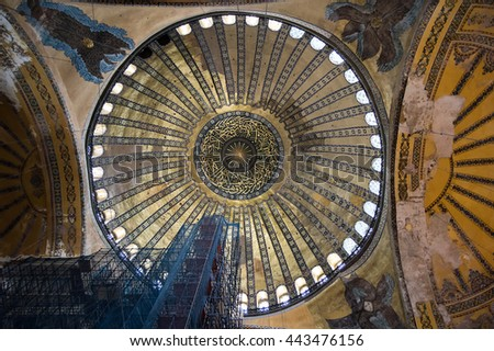 ISTANBUL, TURKEY - JUNE 20, 2015: Ceiling of Hagia Sophia, it was Greek Orthodox Christian patriarchal basilica (church), later an imperial mosque, and now a museum in Istanbul, Turkey