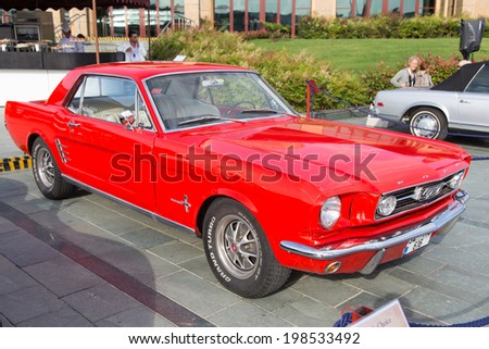 ISTANBUL, TURKEY - JUNE 07, 2014: 1968 Ford Mustang in Istanbul Concours d'Elegance. Concours d'Elegance referring to the gathering of prestigious cars over 100 years.