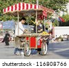 ISTANBUL, TURKEY -JUNE 26: Fresh roasted sweet corn vendor as seen around most areas and tourist attractions on June 26, 2011 in Istanbul, Turkey. Part of the healthy fast food culture in the city - stock photo