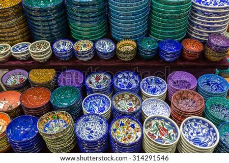 ISTANBUL, TURKEY - JUNE 22: Market stall at Grand Bazaar on June 22, 2015 in Istanbul, Turkey - stock photo