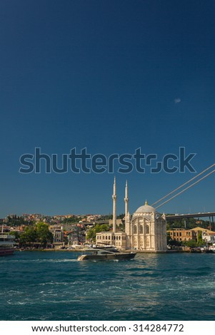 ISTANBUL, TURKEY - JUNE 20: Ortakoy Buyuk Mecidiye Mosque on June 20, 2015 in Istanbul, Turkey - stock photo