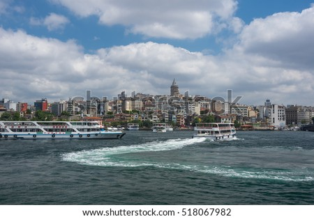 ISTANBUL, TURKEY - JUNE 25, 2015: Panoramic view of european part of Istanbul and Galata tower, Turkey
