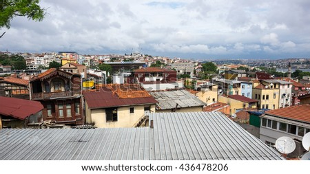 ISTANBUL, TURKEY - JUNE 19, 2015: Panoramic view of european part of Istanbul, Turkey